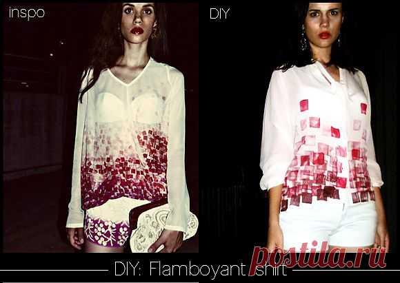 Повтор рисунка на блузке (Diy) / Блузки / Модный сайт о стильной переделке одежды и интерьера