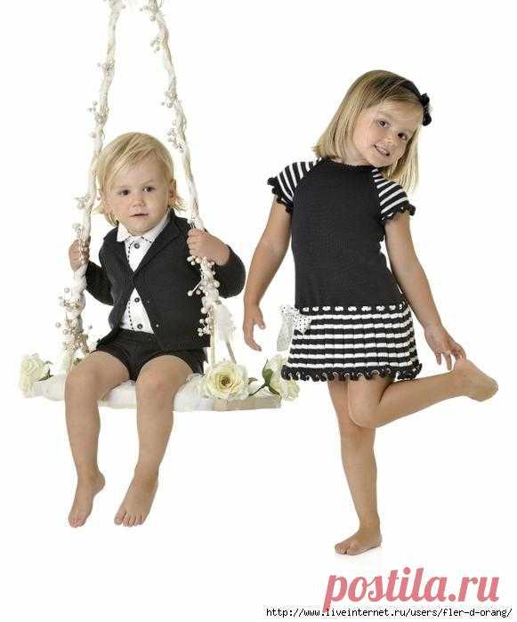 Брендовые платье и сарафан для девочки по одной схеме.