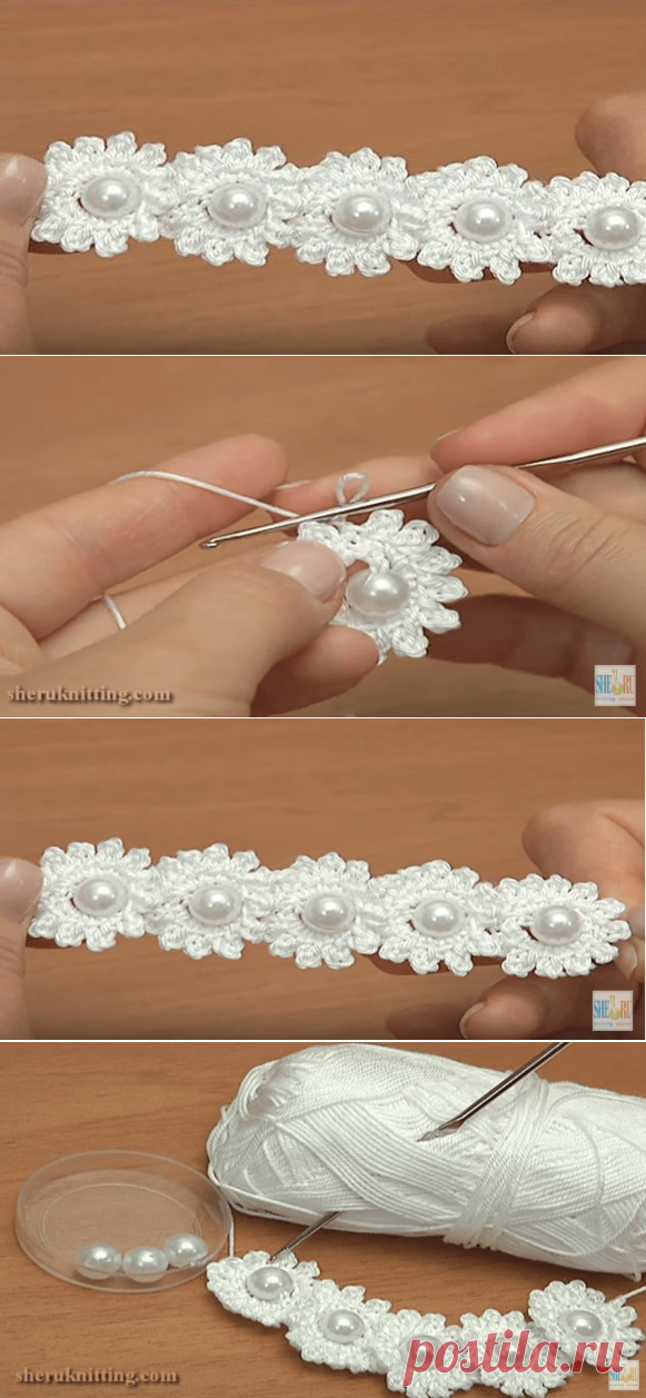 Цепочка из цветов с бусинами выглядит великолепно! Как связать ее крючком..
