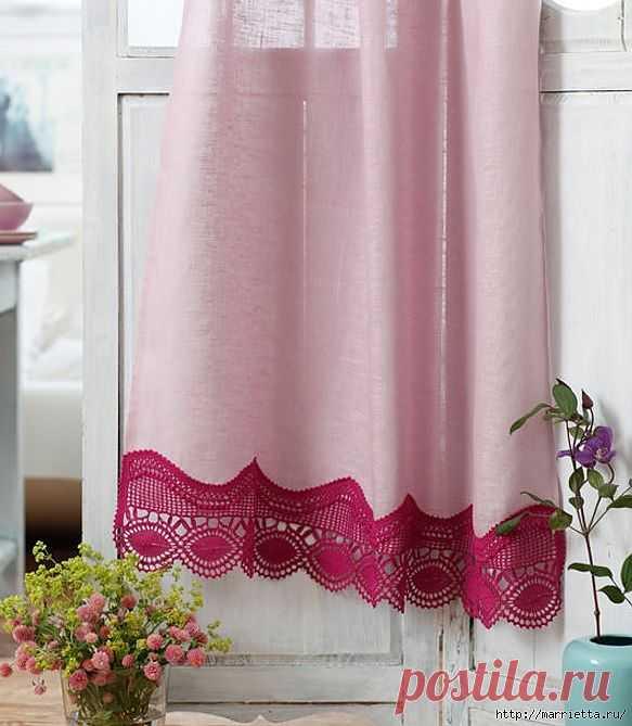 Красивая обвязка края шторы или занавески. Схема.