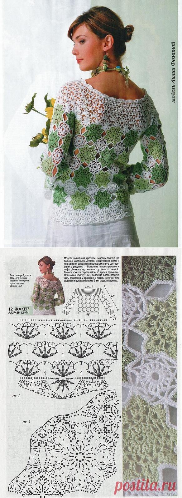 crochelinhasagulhas: Blusa com squares em crochê
