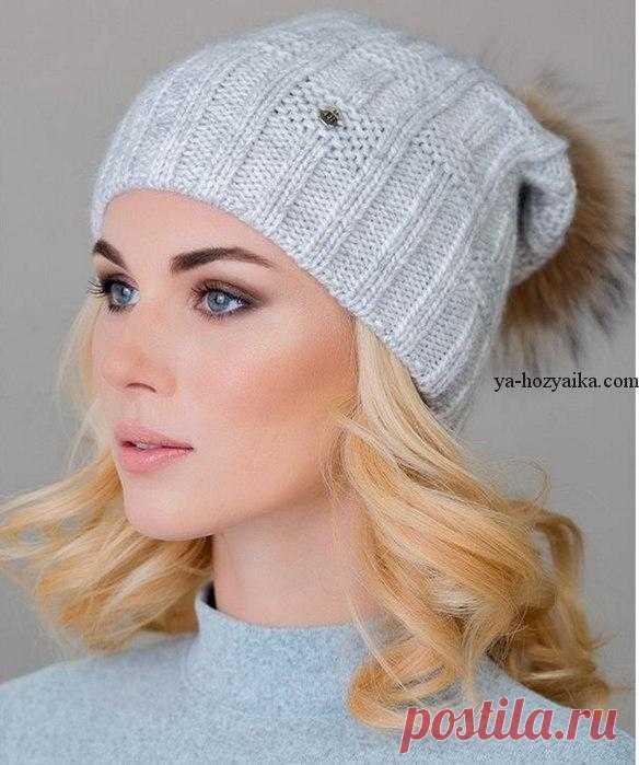 шапка с помпоном спицами схемы вязания шапок спицами шапка с