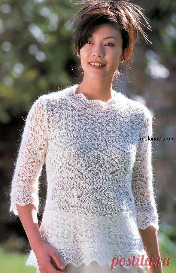 Мохеровый ажурный пуловер спицами | Вяжем с Ланой