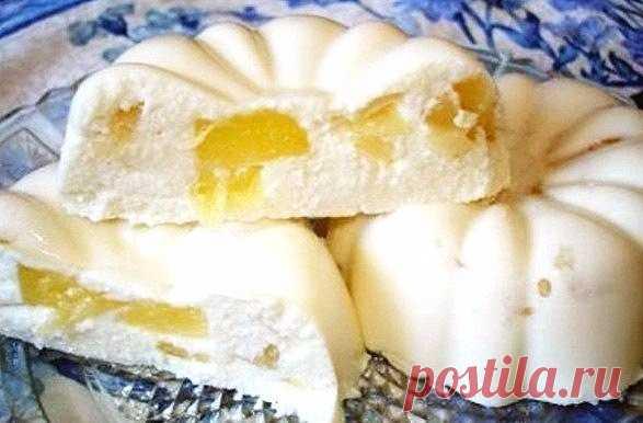 Восхитительно нежный десерт - творожный бланманже с ананасами Тает в рту!