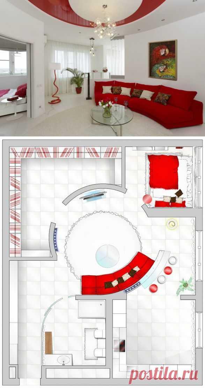 (+1) тема - Белая квартира с красными акцентами   Школа Ремонта