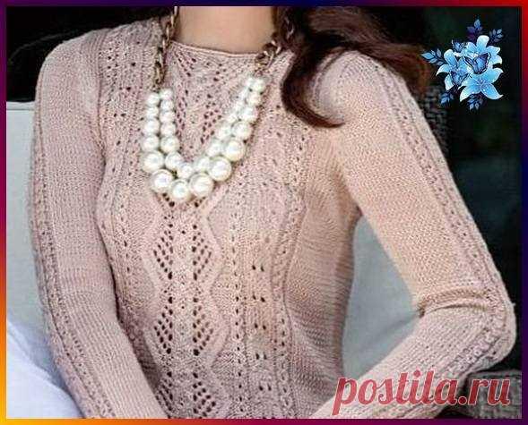 Вязание спицами - Джемпера спицами - Нежный пуловер цвета пыльной розы с вертикальным узором