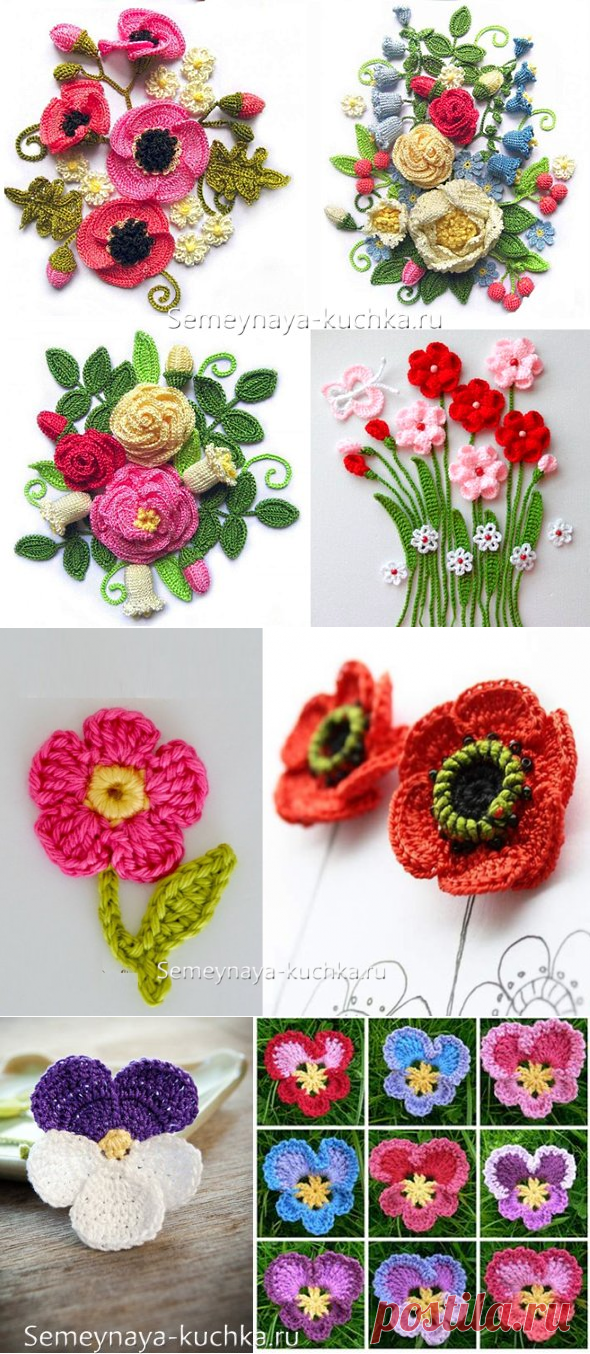 KNITTING of FLOWERS hook (48 photos + schemes and lessons) | Family Small group