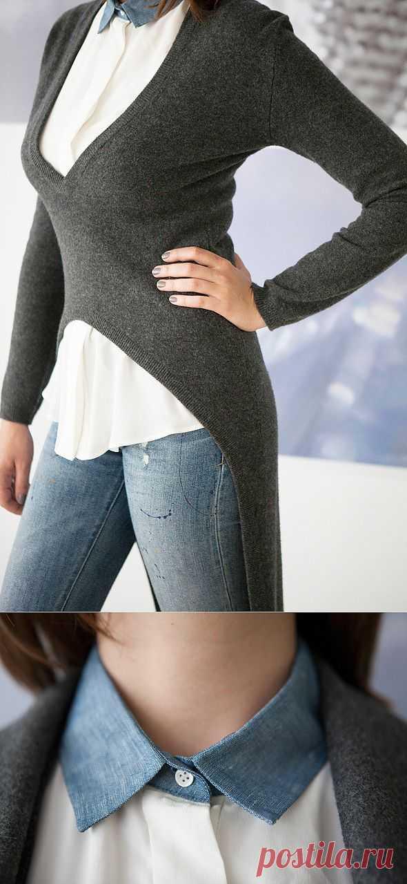 Трикотажный фрак и интересная рубашка Sandro / Аксессуары (не украшения) / Модный сайт о стильной переделке одежды и интерьера