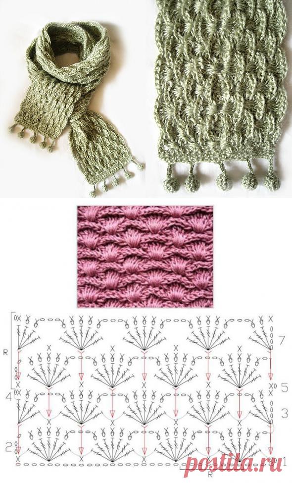 представляет собой вязаный теплый шарф крючком схемы и фото центральная набережная
