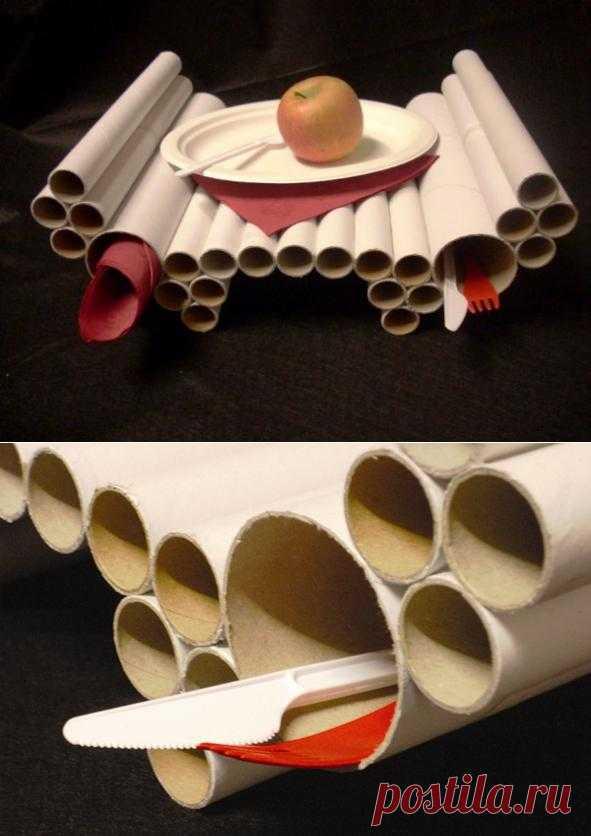 """Столик """"Завтрак в постель"""" из картонных рулонов.  Зачем тратить деньги на вещи, которые можно сделать самому. Не удержалась. Поделилась с вами идеей. Сама хочу такое сделать. Рулончики можно раскрасить или обклеить тканью"""