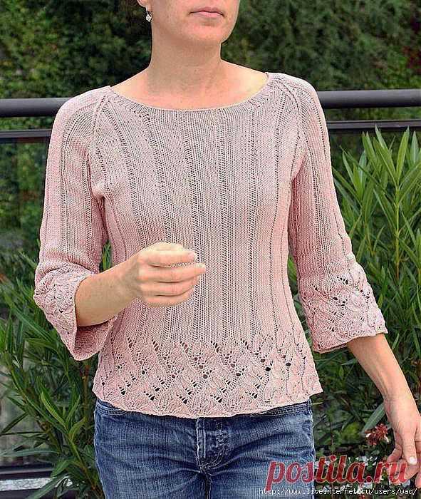 Розовый джемпер с ажуром Chinese Lace Pullover.