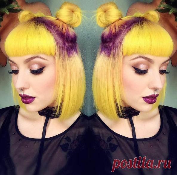 👽 Очаровательные космические булочки 👽 и неоновый желтый / фиолетовый цвет волос.