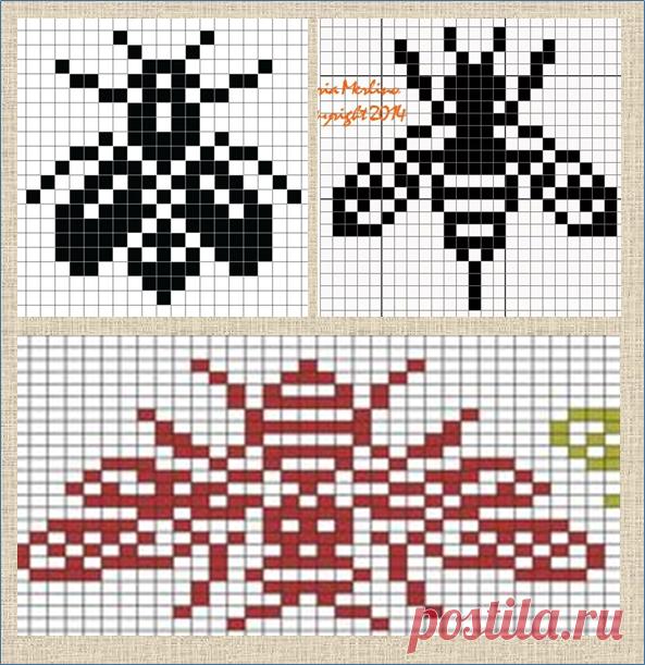 100 схем жаккардовых узоров с разными насекомыми - большая подборка   ЖАККАРДос   Яндекс Дзен