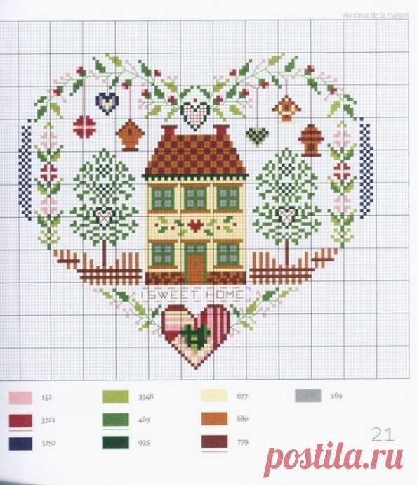 Вышивка крестиком очаровательных домиков