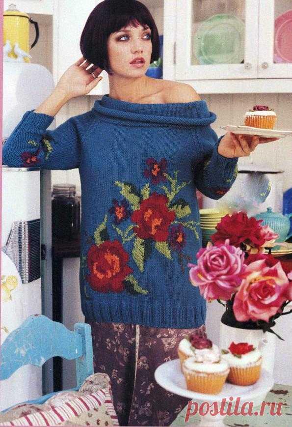 Blue sweater with roses. Jacquard | Shkatulochka for needlewomen