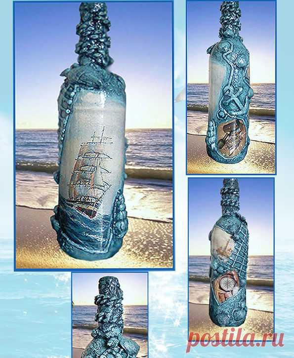 Оформление бутылки в морском стиле, морские сувениры, подарок моряку: 350 грн. - Аксесуари для спиртного та куріння Маріуполь - оголошення на Бесплатка 8463563
