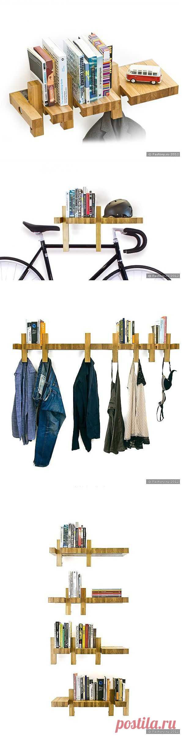 Многофункциональная книжная полка Fusillo - дизайнерская вещь для модного интерьера из натурального дерева