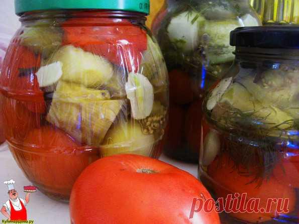 Вкусные баклажаны с помидорами на зиму.
