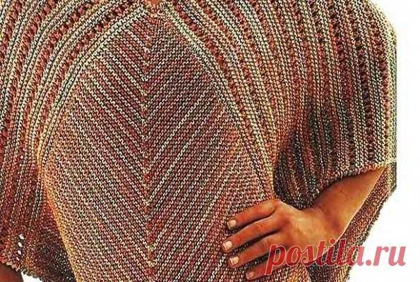 Вязанное пончо в полоску   Вязание спицами и крючком