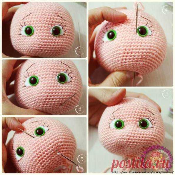 оформление лица вязаной кукле игрушки крючком вязаные куклы