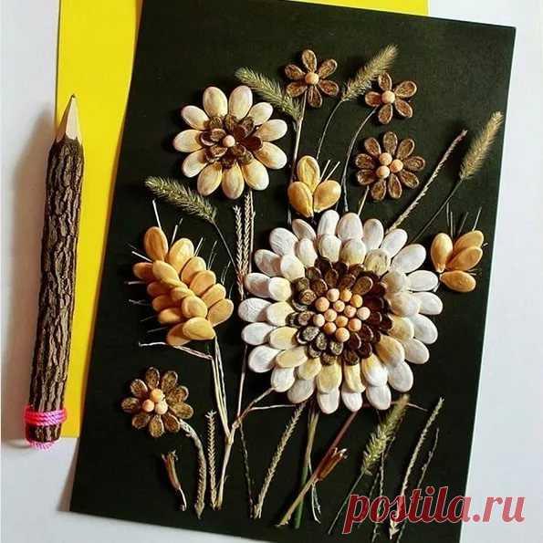 шаблон для открытки букет в вазе из тыквенных семечек они увидели, что