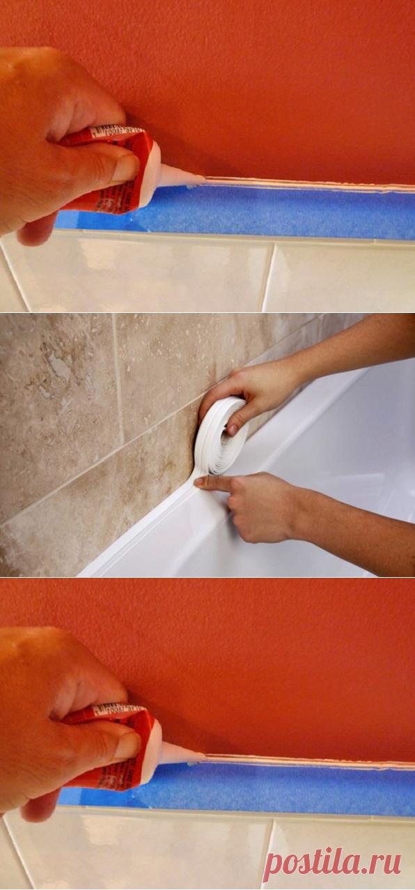 Как убрать щель между ванной и стеной