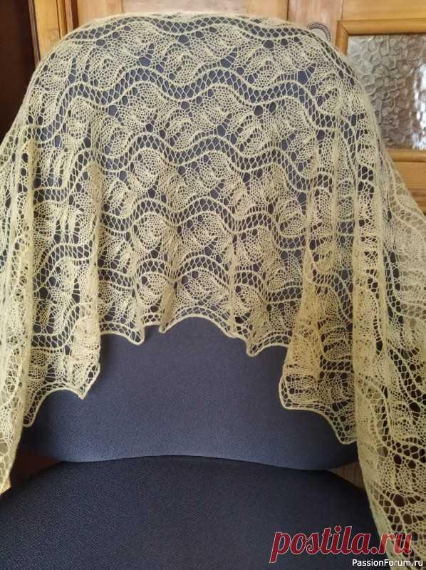 Маленький палантин (или большой шарф?)   Вязание шали спицами