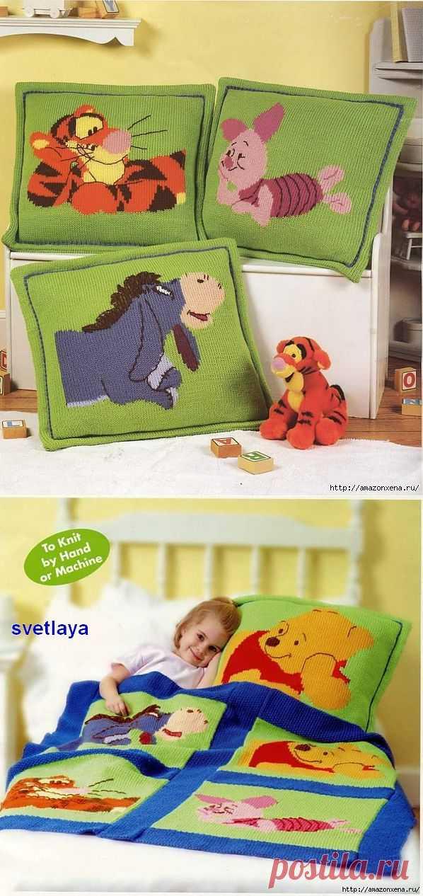 Детские подушки и одеяло с героями диснеевсих мультиков.  Схемы для вывязывания мультяшных героев.