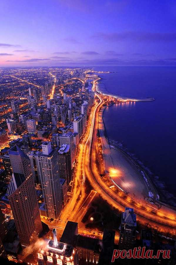 Beauty of Chicago from height of bird's flight. USA