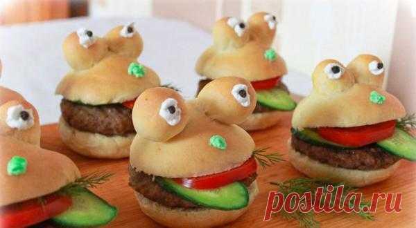 Весёлые бутерброды- лягушата.
