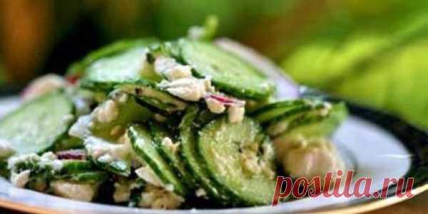 Рецепт огуречного салата с мятой.