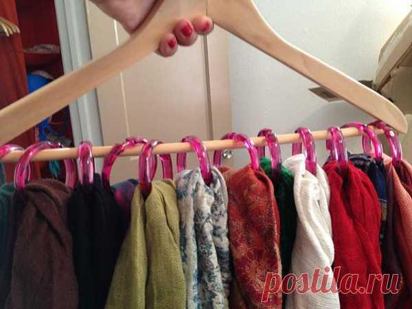 Идея для хранения платков (можно использовать кольца от шторы для ванной)
