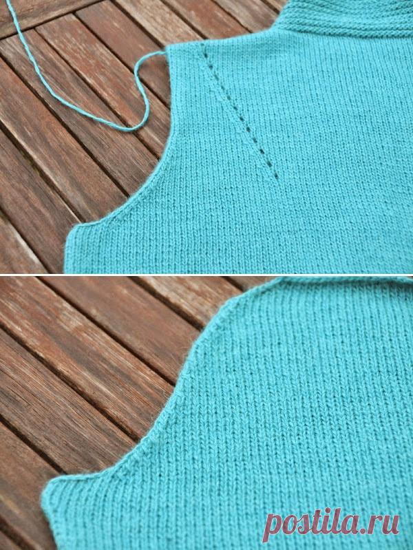 Вязание на спицах - Секреты мастерства спицами - Расчет оката и проймы рукава вязаного изделия. Чуть-чуть про кромочные петли и матрасный шов.