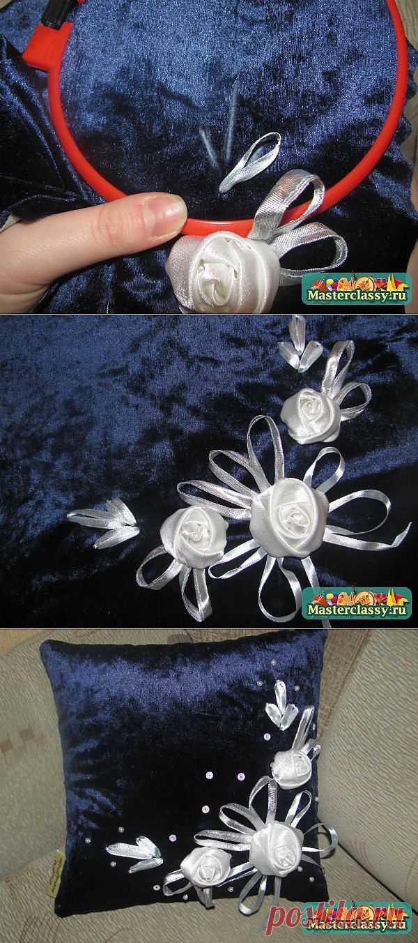 Декоративная подушка своими руками. Белые розы. Мастер класс