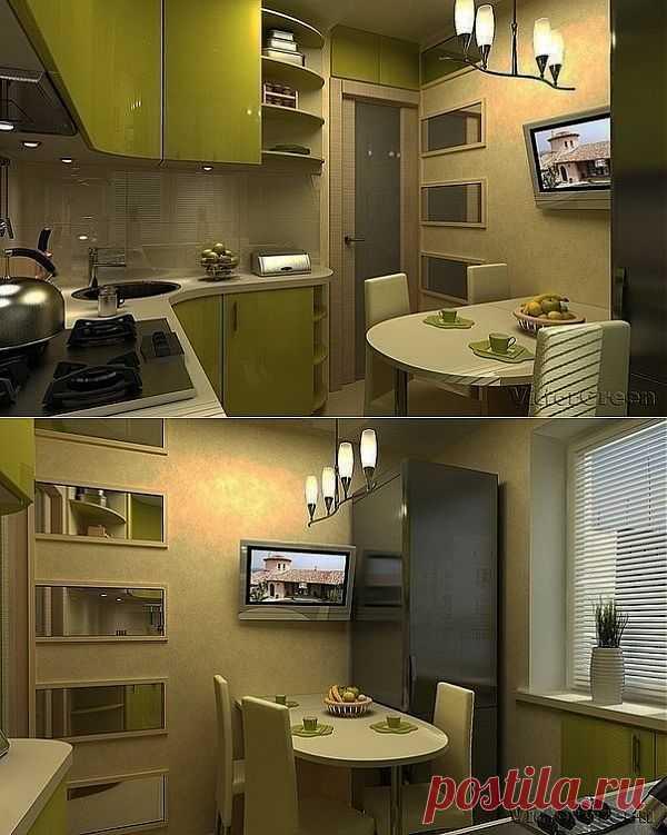 Интерьер кухни площадью 6 кв.м.