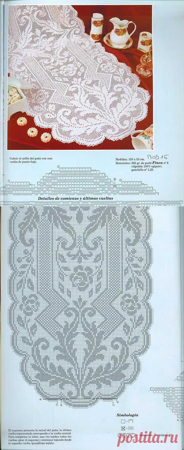 Овальная салфетка филейным вязанием.