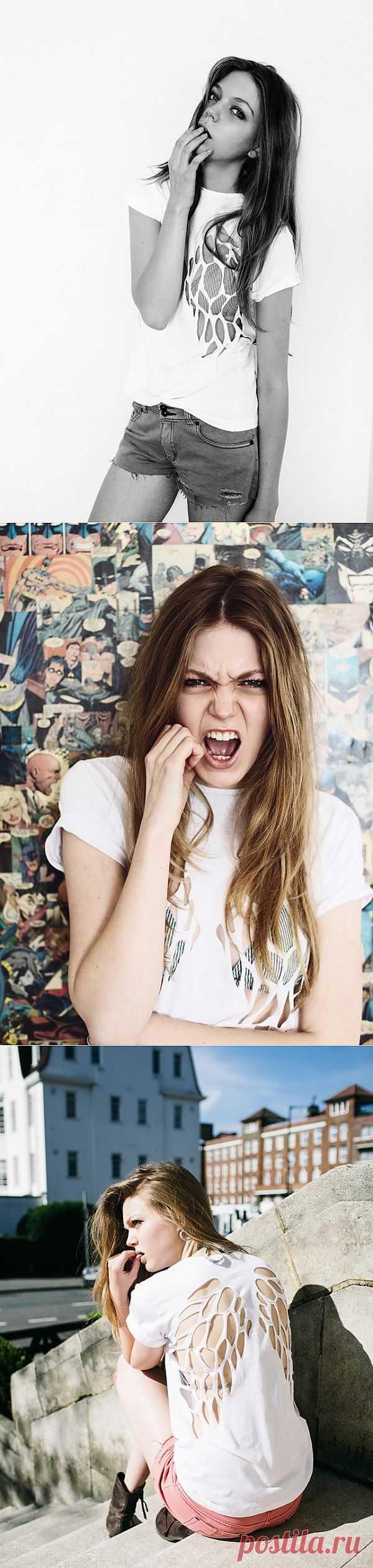 Прорези на футболке / Прорези / Модный сайт о стильной переделке одежды и интерьера