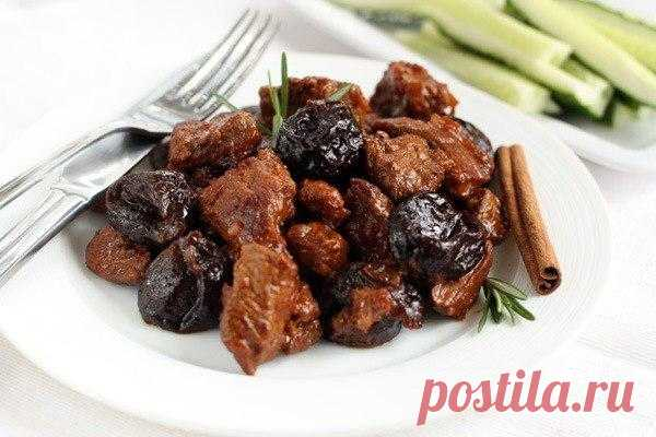 Meat in Greek with prunes and cinnamon.