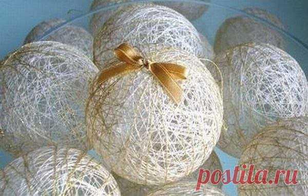 Праздничные шары-паутинки из ниток. Мастер-класс