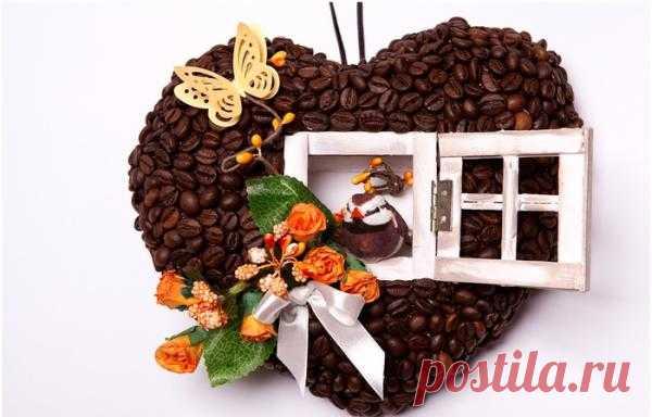 Кофейное сердце - домик для птички. Мастер-класс.