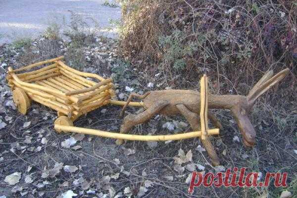 Деревянный ослик с тележкой. | Wood Brothers