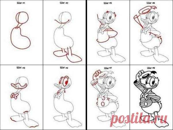 Схемы для рисования диснеевских героев.