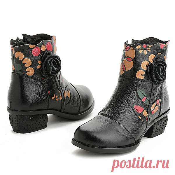 Designer SOCOFY Retro Splicing Handmade Flower Pattern Ankle Leather Boots - NewChic