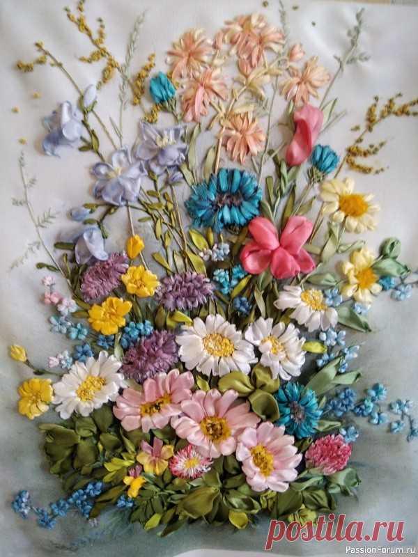 Полевые цветы | Вышивка лентами