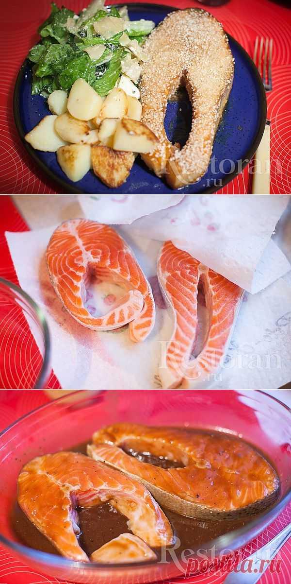 Рецепт форели с соевым соусом и кунжутом. Еще один очень легкий в приготовлении и безумно вкусный способ запечь форель. Два раза взмахнули ложкой, дали рыбе полежать в маринаде и засунули в духовку. Все! А вкус!!! И кстати, можно брать любую красную рыбу.