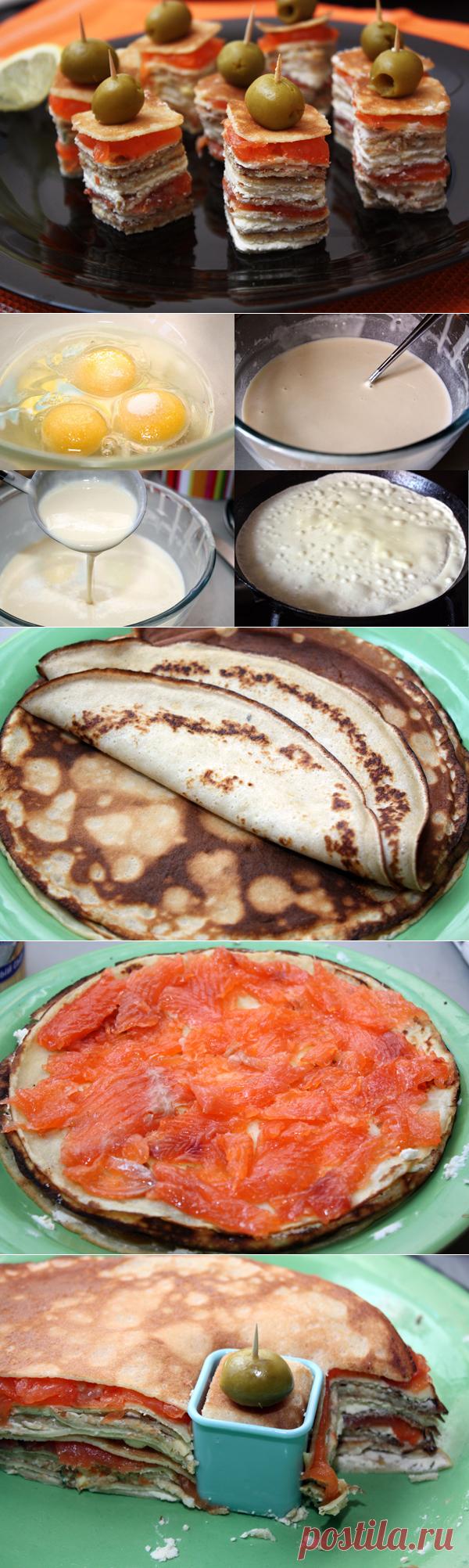 Удобное и красивое блюдо: канапе из блинов — Вкусные рецепты