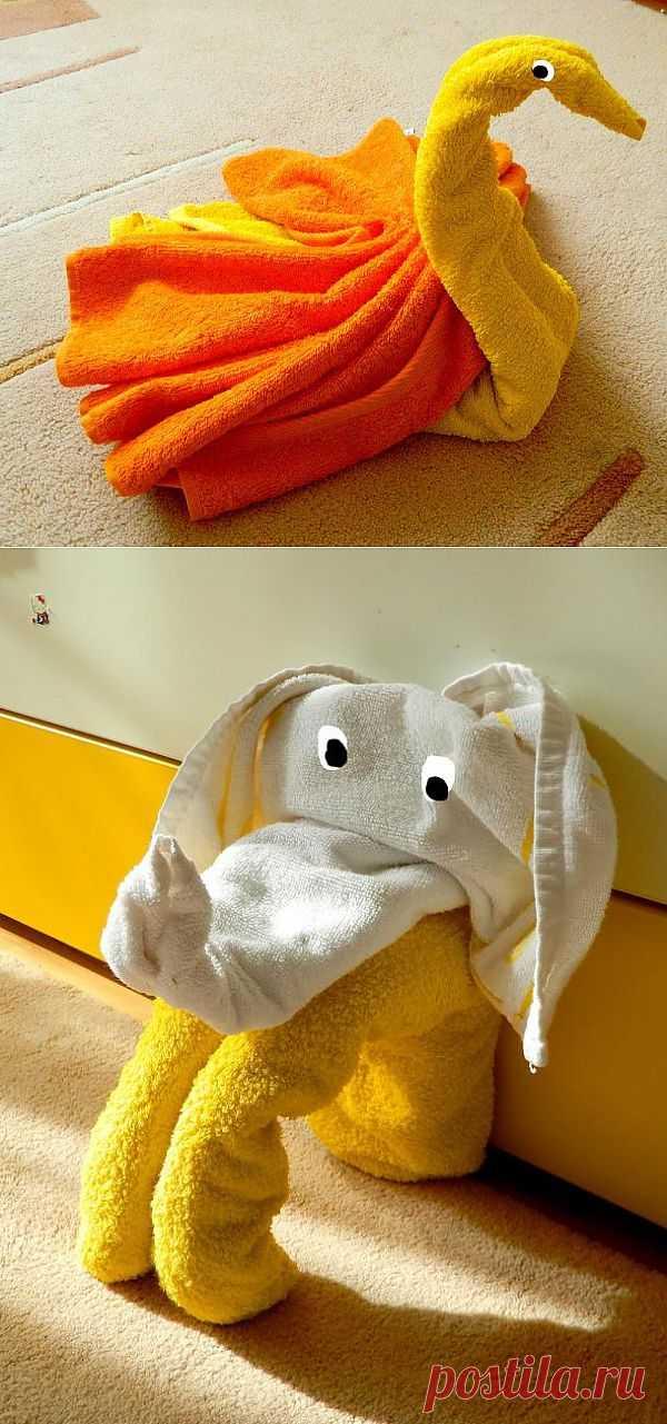 Животные из полотенец и одеял. Идеи для фотосессий и для веселых игр дома.