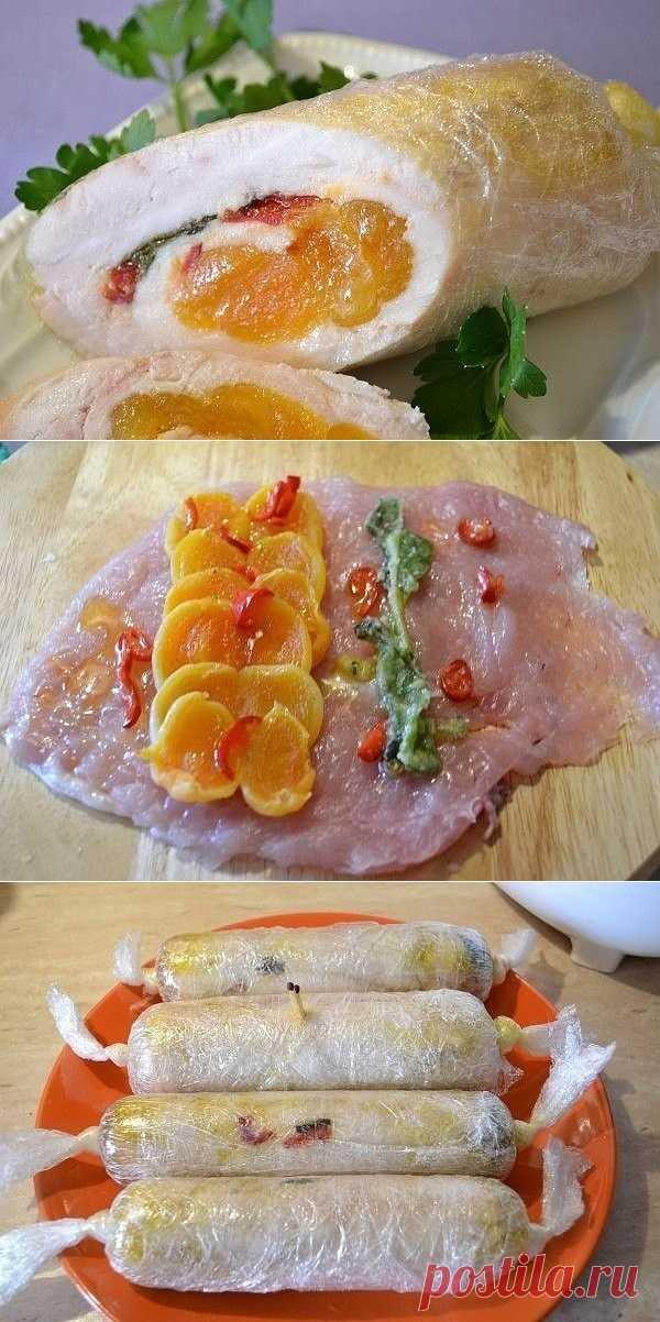 Куриные колбаски-рулетики с курагой. Вкусное сочное мясо! Такие рулеты прекрасно подойдут для всех случаев: от завтрака до праздничного стола!