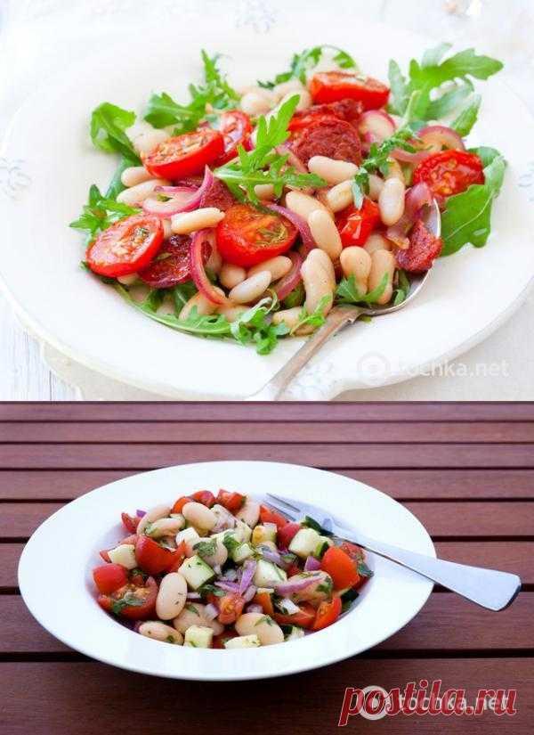 Постные блюда: салат с помидорами и фасолью