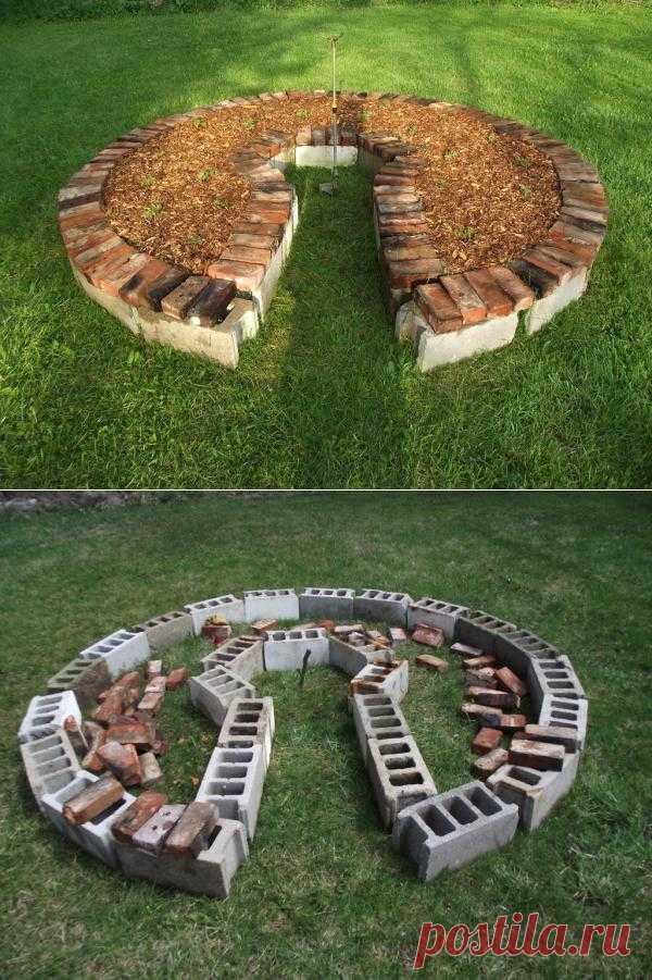 Очень интересный дизайн клумбы. По английски всё просто и скромно, но и не без изюминки. Можно сделать из обычного стройматериала, например после постройки чего-то оставшегося. Суть тоже понятна: выбираем место, выкладываем, засыпаем земляной смесью и садим.